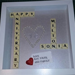 SCRABBLE ART FRAME FOR A COUPLE CELEBRATING THEIR WEDDING ANNIVERSARY