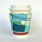 Coffee Cup Cuff/ Cosy - Blue, Green & White Tartan