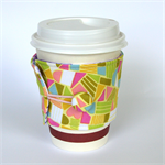 Coffee Cup Cuff/ Cosy - Bright Geos with hidden hearts on Lime Yellow