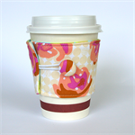 Coffee Cup Cuff/ Cosy - Peach & Pink Roses on Dotty Spots