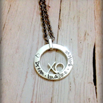 Hand Stamped Personalised XO Necklace in Sterling Silver