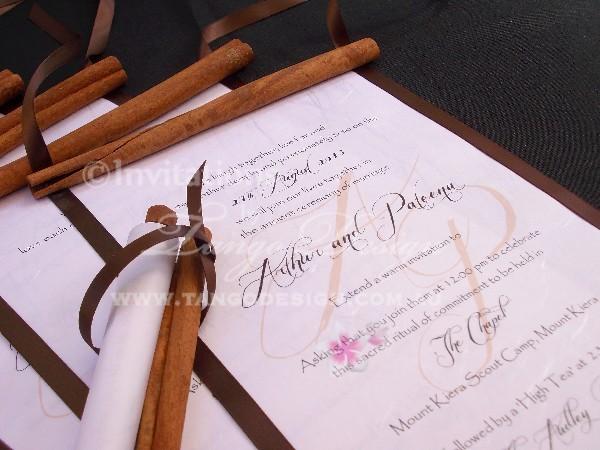 rustic wedding scroll card or birthday invitations sample