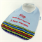 Allergy Alert Bib -  Blue & ZigZag Cotton Fabric, Toweling, Snap fastened.