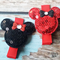 Sequin Minnie Mouse Clips  (Red/Black)