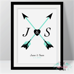 Love Arrow Wedding Anniversary Valentines Initial Couple Print