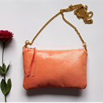 The little leather coral clutch - OOAK