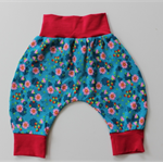 Size 3-6mth baby harem, pant, organic cotton, teal, pink, floral, bamboo trim