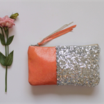 Coral crush - Leather and sequin clutch