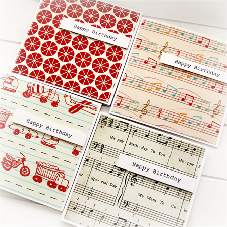 4 BIRTHDAY Cards For Him Happy Birthday Verse Music Notes Spots Transport