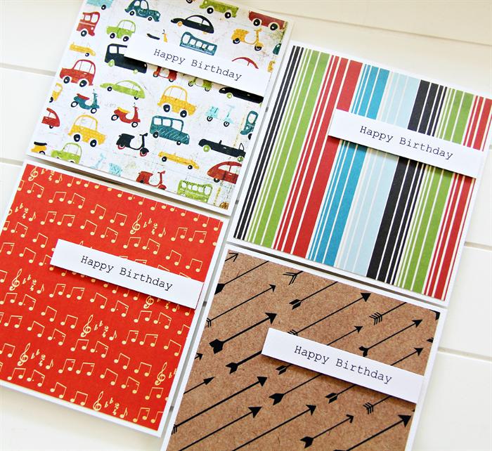 4 Happy Birthday cards for him stripes arrows transport