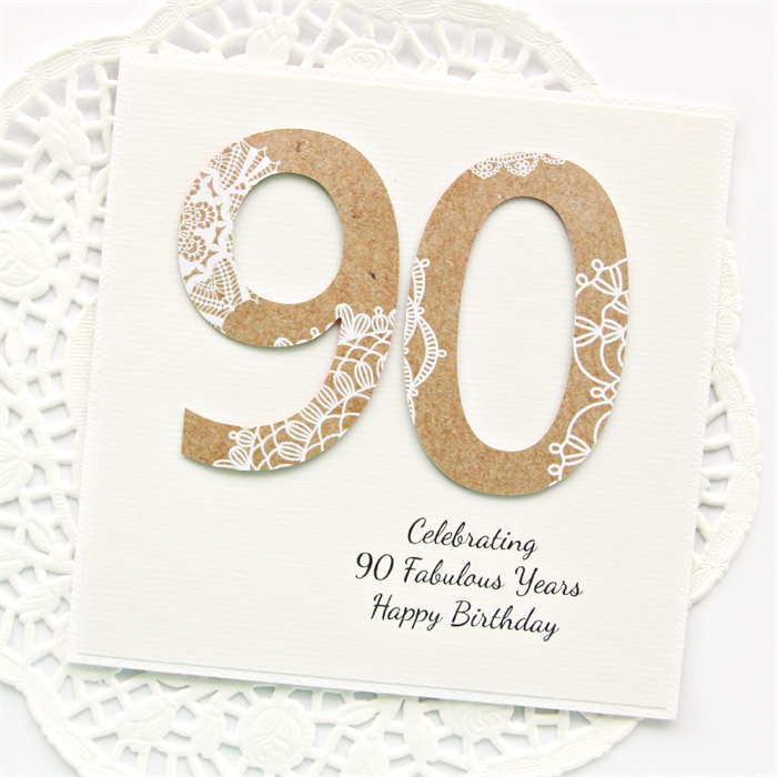 90th Personalised Card Birthday Kraft Doily