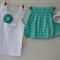 Girls Summer Chevron Paperbag Skirt & Blingy Singlet Set Christmas Green Size 3