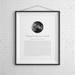 Wedding Vows Keepsake Print for Valentines Day - I Love You to the Moon