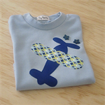 Toddler boys light blue t-shirt with plane applique
