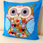 Cushion Cover Pillow Cover - Blue Owl applique 40cm 16 inches