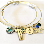 Hand Stamped Bangles Layered Personalised Bangles Charm Bracelet Adjustable