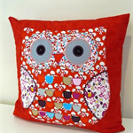 Cushion Cover Pillow Cover - Red Owl applique 40cm 16 inches