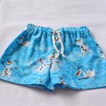 "SALE !! Frozen ""Olaf"" toddler boys' shorts.  aqua blue, white size 1 to 2"