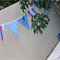 Blues, reds and gingham. Bunting, banner, decoration.