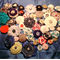 Bulk lot of 50 handmade fabric flowers