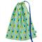 Stunning Library Bag or Toy Bag. Peacocks in Mint. Versatile Drawstring Bag.