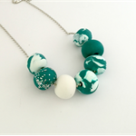 Teal and White Marble Polymer Clay Necklace
