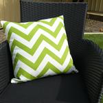 Pillow Throw Cushion Cover - Green chevron 45cm 18 inches