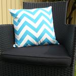 Pillow Throw Cushion Cover - Blue chevron 45cm 18 inches
