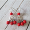 Dangle earrings, red matte earrings, gift for her, Valentine's day, simple
