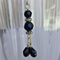 Faceted Black Bead Pendant on Rhodium Plated Chain