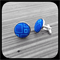 Sky on Royal: Large Bezel Set Cufflinks