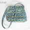 Navy and Green geometric Hobo style handbag