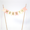 Bunting Cake Topper - Pink, Cream and polka dots Gold Glitter - Baby Shower