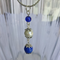 Glass Pearl & Blue Beaded Pendant on Rhodium Plated Chain