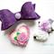 Purple/ lavender clip set- felt bow, flower and heart clips