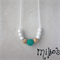 Teal cotton crochet, white BPA free silicone and maple wood necklace for mums