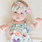 Floral Baby Girl Playsuit and headband - romper, birthday, newborn, girl,