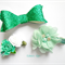 Green/ teal clip set - glitter bow, sequin bow and flower clip