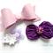 Purple/ lavender clip set- felt bow and flower clips