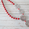 Statement rose flower necklace in red matte colour