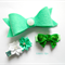 Green/ teal clip set - felt bow, sequin bow and flower clip