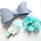 Blue clip set- felt bow and flower clips