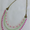 Boho Multi Strand Pink & Green Beaded Necklace
