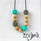 Grey cotton crochet, aqua geo BPA free silicone and maple wood necklace