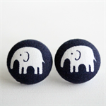 Buy 3 Get 4th Free! 19mm Elephant Fabric Button Stud Earrings