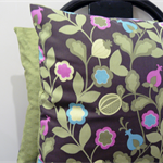 Cushion Cover Mothers Day pink and blue flowers with green leaves 40cm 16 inches