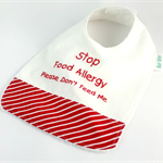 Allergy Alert Bib - White and Red Cotton Fabric, Toweling, Snap fastened.