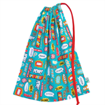 Superhero Library Bag or Toy Bag. Cartoon Comic Words. Option to Personalise!