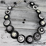 Black White Chevron ZigZag- Button Necklace - Button Jewellery with Earrings