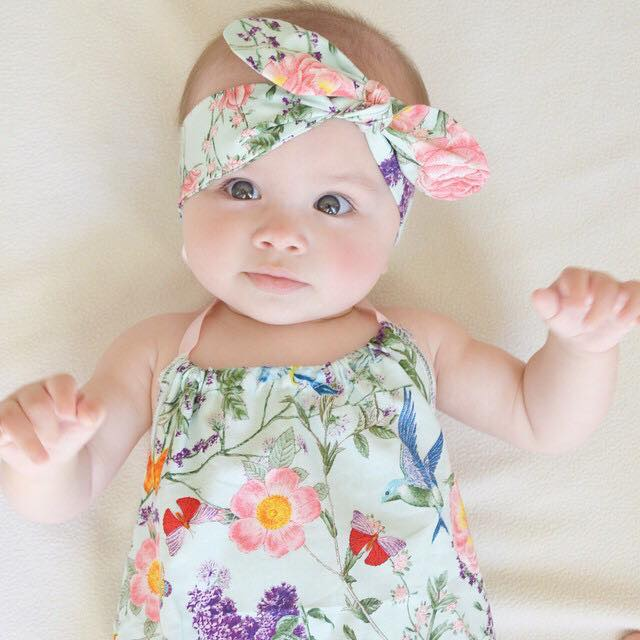 Mint Floral Baby Girl Playsuit and headband - romper 28a113e3234